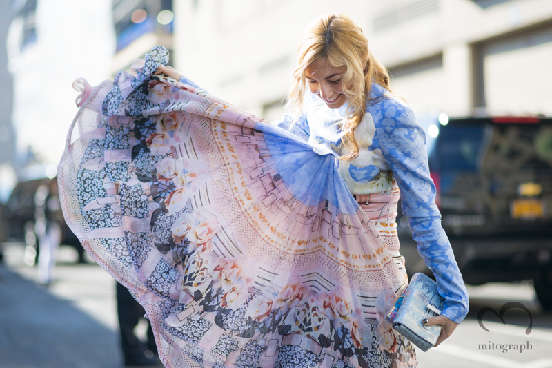 mitograph Nasiba Adilova wearing Mary Katrantzou Dress After Ralph Lauren New York Fashion Week 2013 2014 Fall Winter NYFW Street Style Shimpei Mito