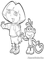 Gambar Dora Dan Boots Melambaikan Tangan Untuk Diwarnai