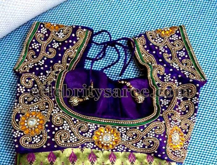 Zircon Work Blouse in Purple Color