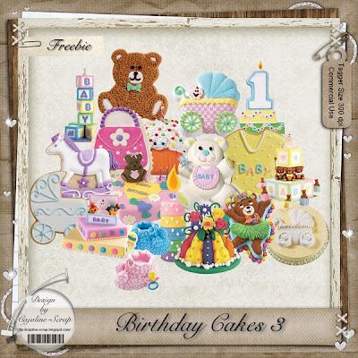 "Free scrapbook elements  ""Birthday cakes 3"" from Cajoline scrap"