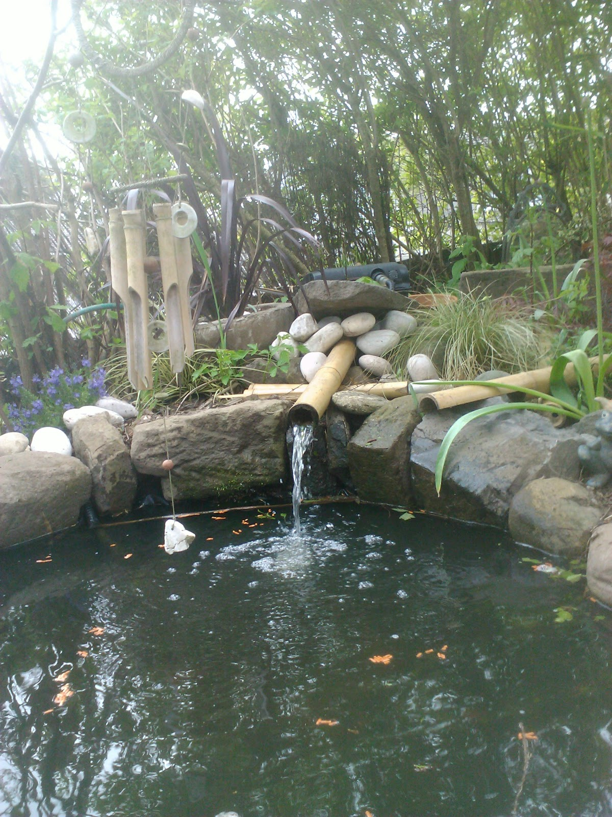 Heres More Edinburgh Landscaping From The Garden Construction Co Http://www. Garden Co.com/ , A Lovely Informal Pond With Bamboo Spout Running Through  Uv ...