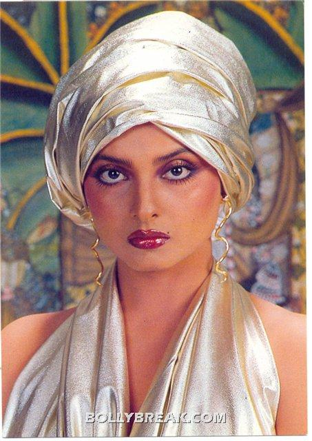 Rekha Makeup Red lips Western Getup - (2) - Rekha Hot Pics - 1980's 1970's Rekha Photo Gallery