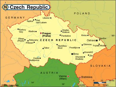 Republica Checa  Mapa Fronteira