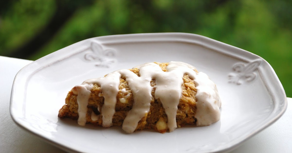 ... ...: White Chocolate studded Pumpkin Scones--Frosted of course
