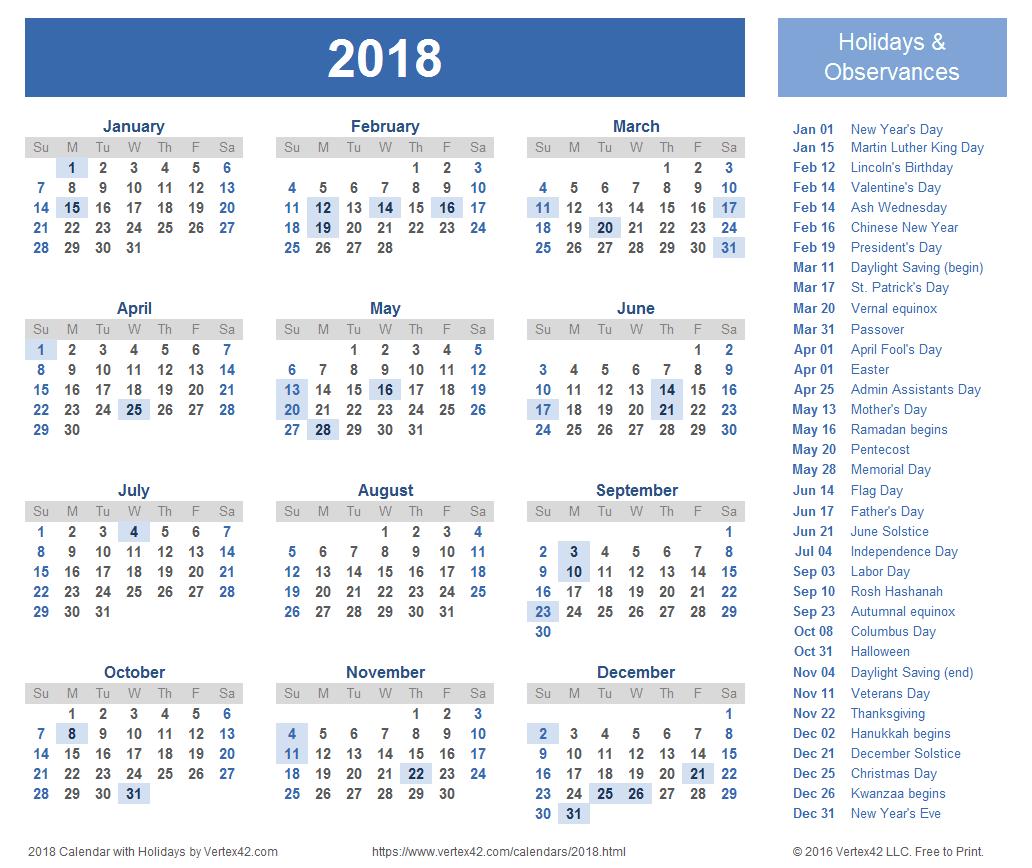 calendar 2018 print
