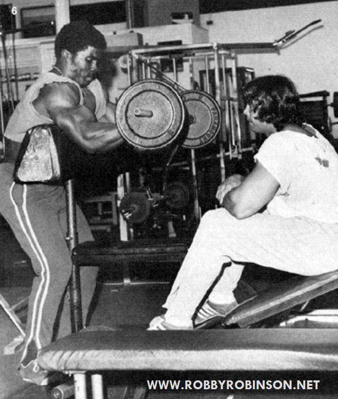 Robby Robinson & Denny Gable - Gold's, CA '75 Scott bench standing dumbbell biceps peak curls  ● www.robbyrobinson.net//master-class.php ●