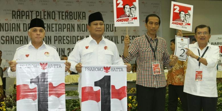Nomor Urut Capres-Cawapres 2014 - Prabowo-Hatta No. 1 Jokowi-JK No. 2