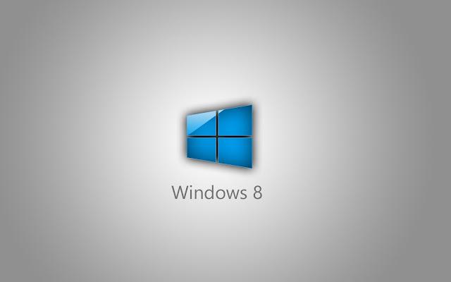 Grijze Windows 8 achtergrond met blauw raam in 3D