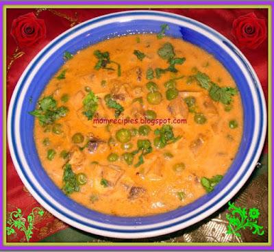 mushroom peas curry / mushroom matar  - zero oil recipe