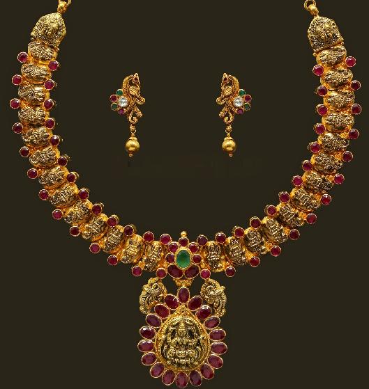 Jewellery Designs Lakshmi Motifs Antique Jewellery Ruby Necklace set