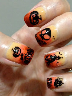 Gradient Halloween nails stamping bundle monster