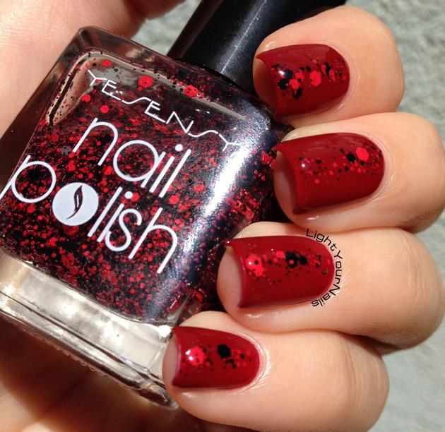 Yesensy red and black matte glitter
