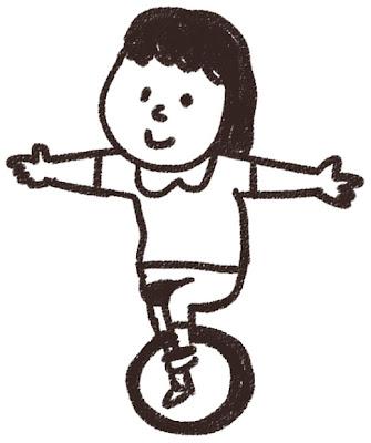一輪車のイラスト「女の子」 白黒線画