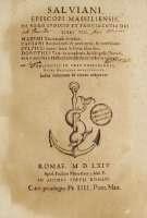 """""""Salviani episcopi Massiliensis De vero iudicio et providentia dei libri VII"""" - Salviano de Marsella"""