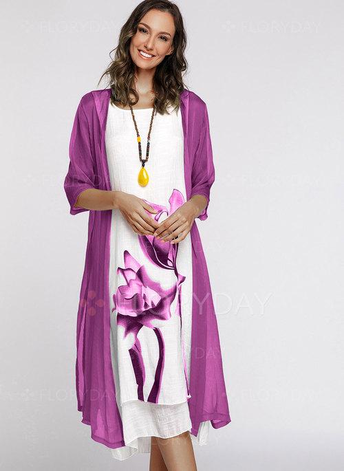 Floral 3/4 Sleeves Midi Shift Dress