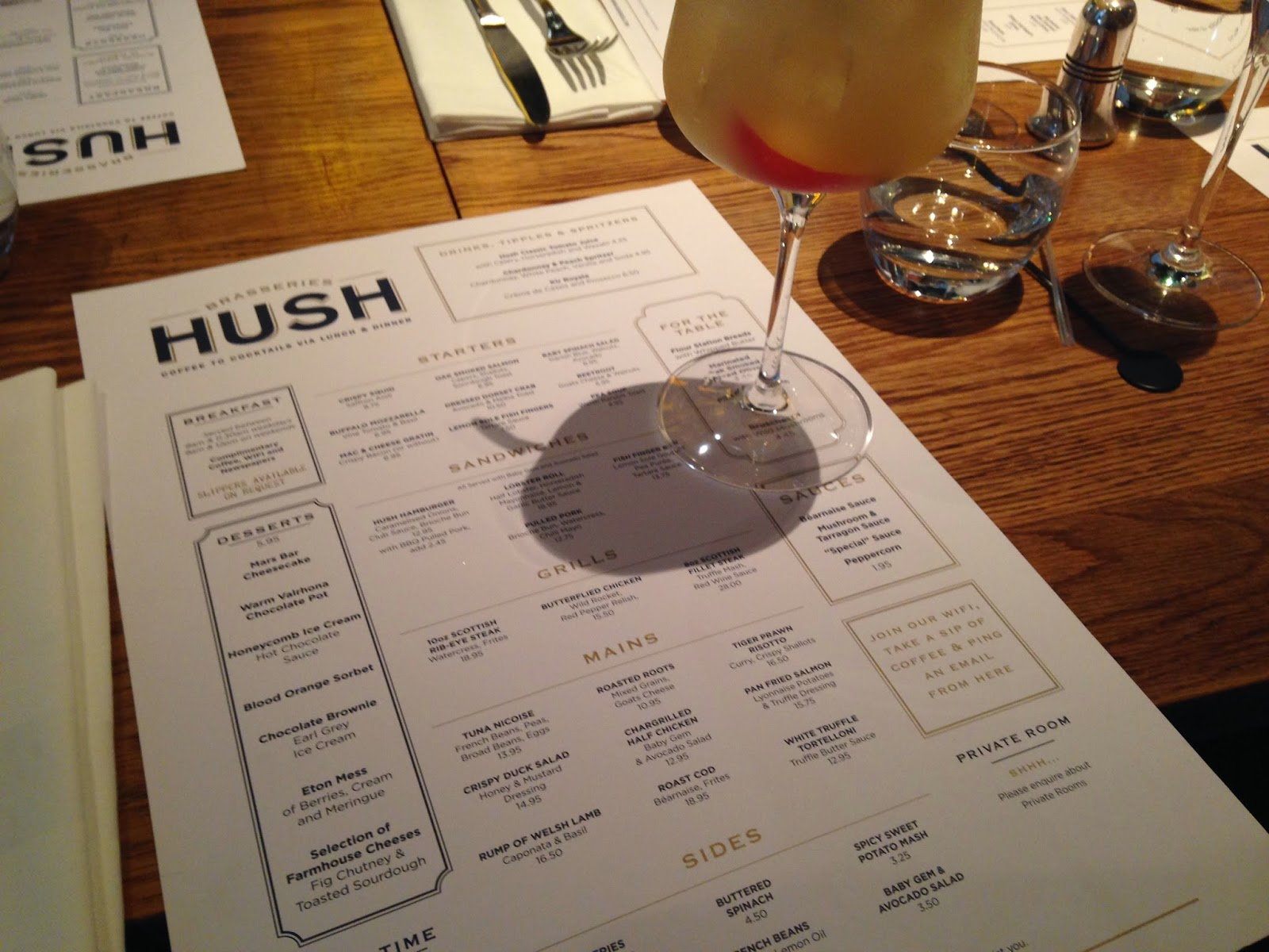 Hush - chardonnay and peach spritzer