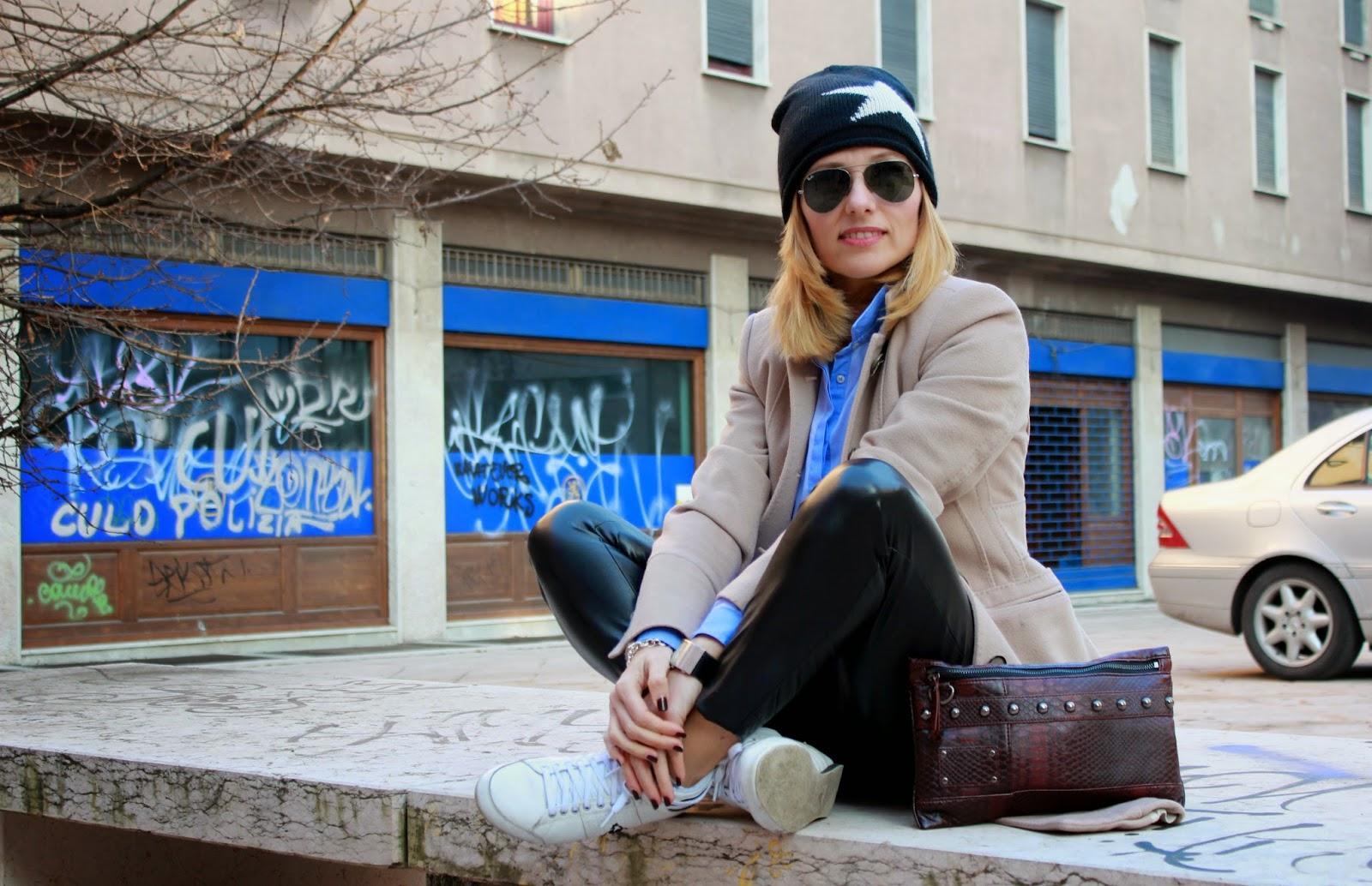 Eniwhere Fashion - Camel coat and Coq Sportif