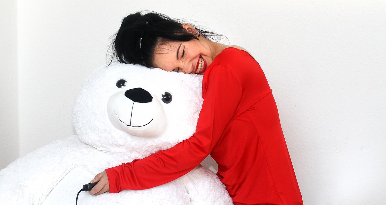 women girl teddy bear