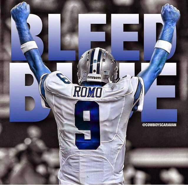 bleed blue. #TonyRomo #Cowboys #bleedblue #clenchedfist #armraised