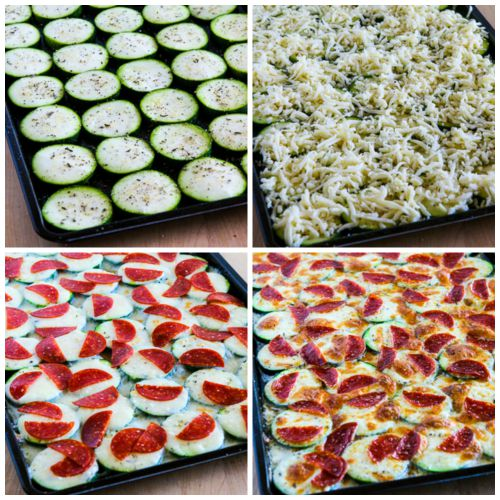 Val's Kid-Friendly Broiled Zucchini with Mozzarella and Pepperoni (Low-Carb, Gluten-Free) found on KalynsKitchen.com.