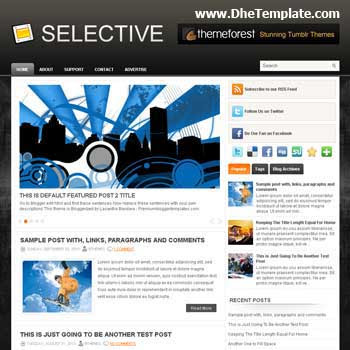 Selective blog template. template image slider blog. magazine blogger template style. wordpress theme to blogger