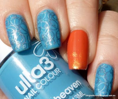 Ulta3 Blue Heaven with OPI Call me Gwen-Ever and stamping