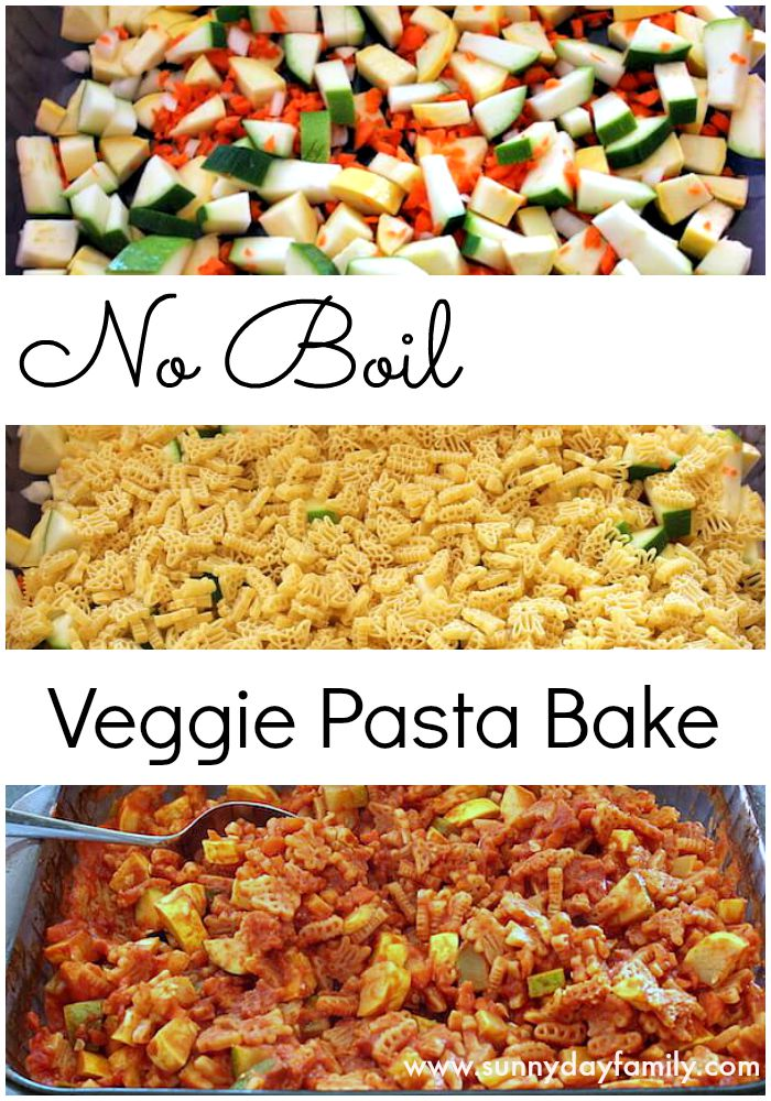 Easy no boil pasta bake with vegetables. One dish recipe for a healthy meal kids will love!