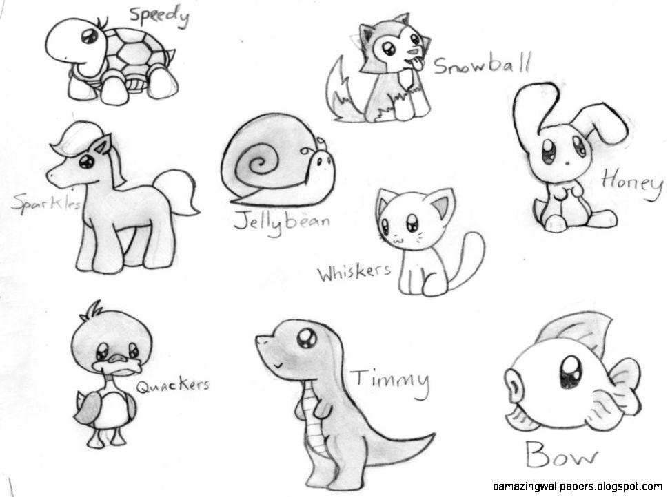 Cute Animal Drawings Widescreen 2 HD Wallpapers