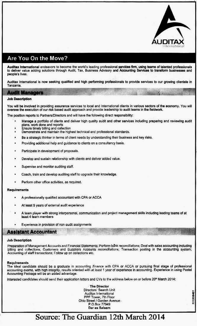 Audit Managers and Assistant Accountant at Auditax | Tanzania Jobs ...