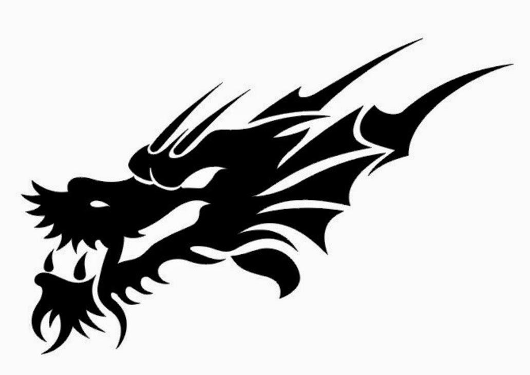 Dragon tribal head tattoo stencil