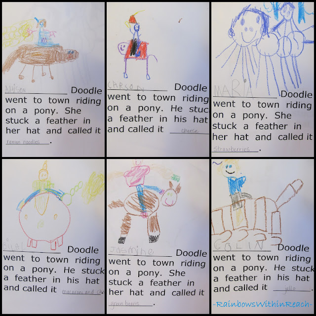photo of: Kindergarten class writing book, Yankee Doodle nursery rhyme