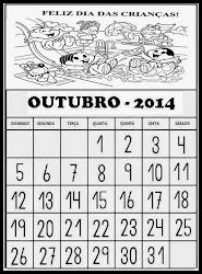 CALENDÁRIO DO MÊS DE OUTUBRO DE 2014   FELIZ DIA DAS CRIANÇAS!