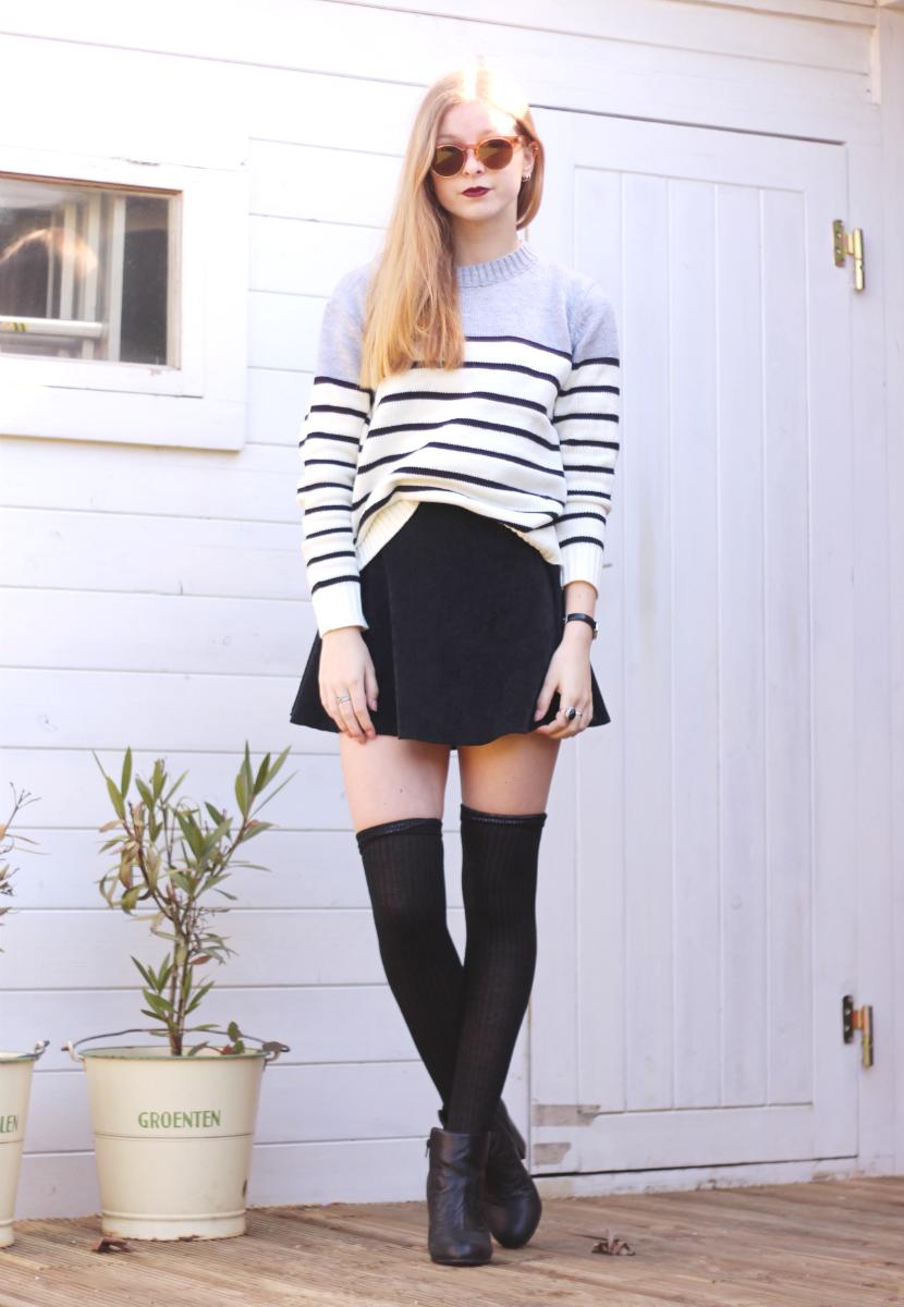 outfit sweater stripes skirt black knee socks spring
