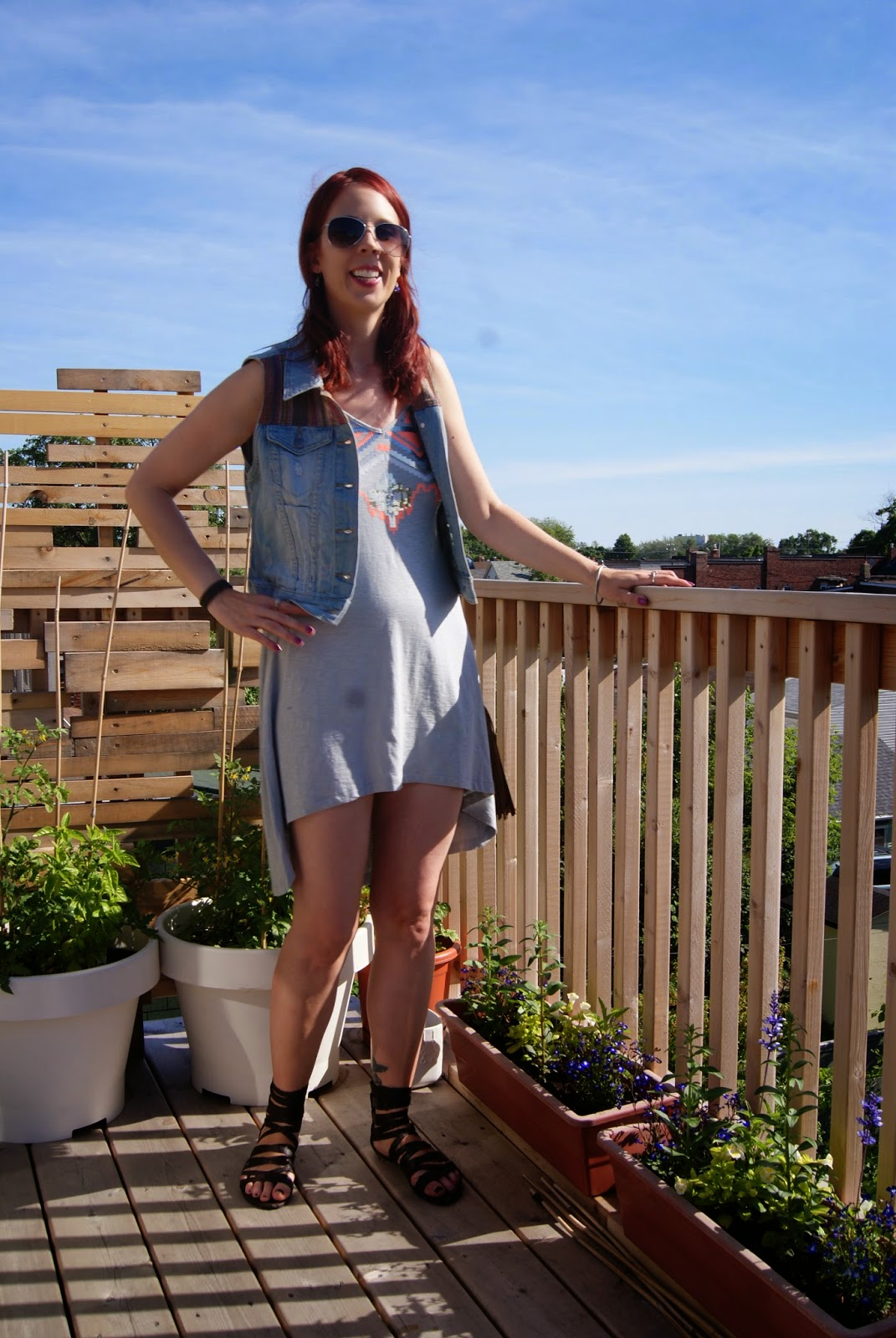 Festival, Fashion, Dress, Fringe, Purse, from Express, Urban Behaviour, Denim, Vest, Old Navy, Gladiator Sandals, Shop For Jayu, Nail Bracelet, Style, Summer, Melanie_ps, The Purple Scarf, Toronto, Ontario, Canada,Styletips, Coverup, outfit