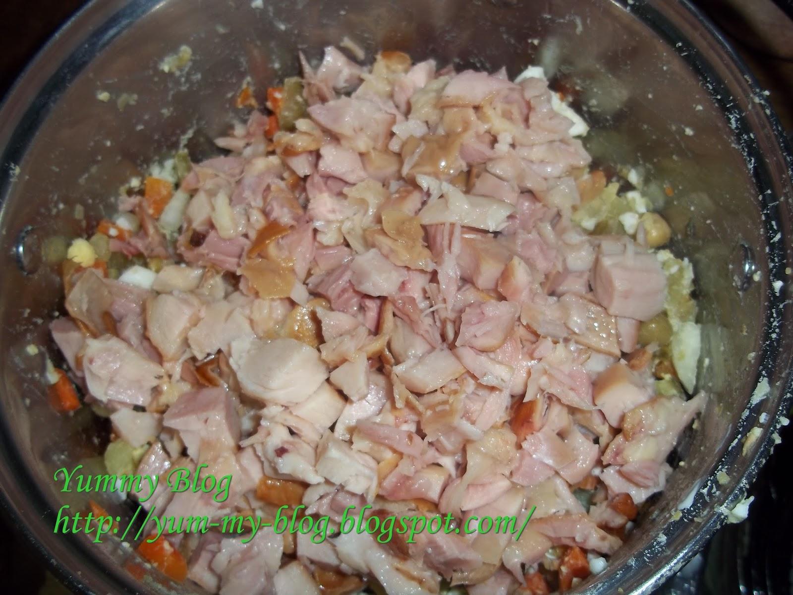 Т салат из копченой курицы