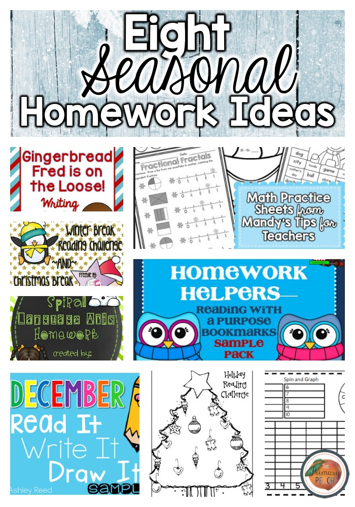 The Primary Peach: 8th Day of Winter: 8 Homework Activities {FREEBIES}