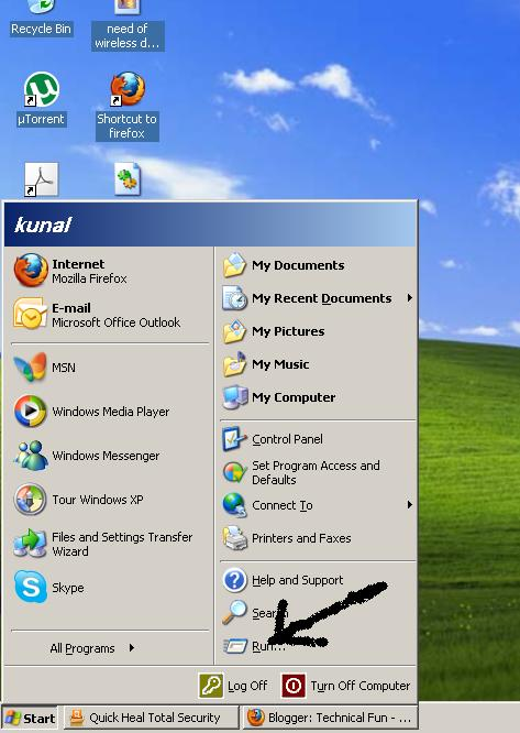 run command in start menu