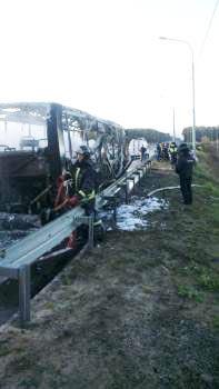 На Ярославском шоссе сгорел пассажирский автобус №388