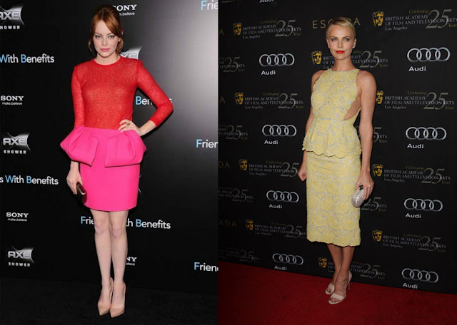 Famosas con peplum Emma Stone y Charlize Theron