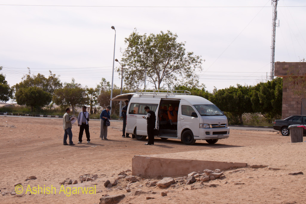 Tourists disembarking from a van after arriving at Abu Simbel in Egypt