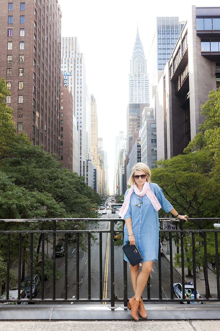 New York City Chrysler Building, Tudor City OVerpass, oversized COS shirtdress, Rachel Comey Mars boots, Brika scarf