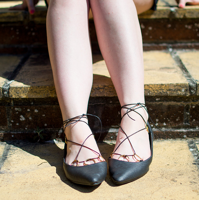 DIY LACE UP BALLET PUMPS