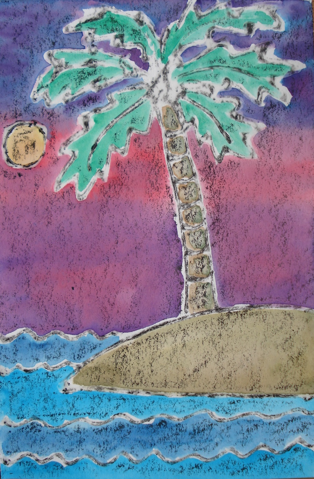 A faithful attempt mixed media palm trees for Watercolor painting and projects