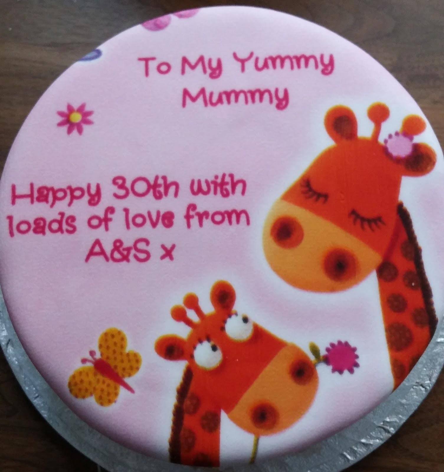 personalised 30th birthday giraffe cake for yummy mummy