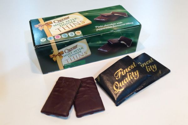 Aldi Choceur Mint Chocolate Thins are vegan