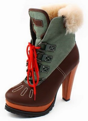 Shearling trim high heeled hiking boot