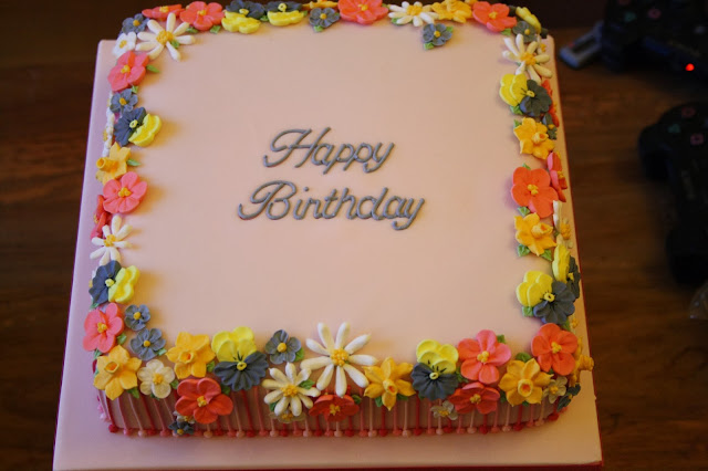 Royal icing piped flowers cake