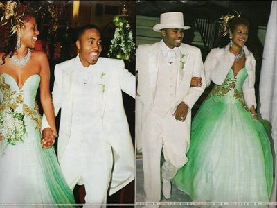 kelis marriage rapper Nas wearing green colored green tinged gown gown wedding dress