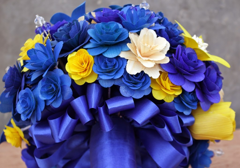 Royal blue and yellow wedding bouquets pomanders corsages and blue and yellow wedding flowers bride bouquet bridesmaids bouquets mightylinksfo