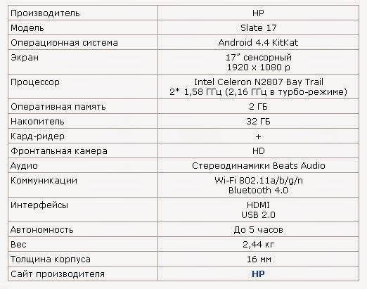 технические характеристики моноблока HP Slate 17